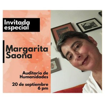 Flyer showing Margarita Saona and announcing her as the special guest. Gives date, time, and location of event in Spanish.