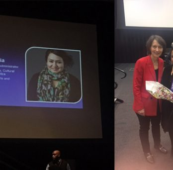 Side-by-side images of a screen showing Ms. García's accomplishments; Ms. García holding flowers and surrounded by Provost Poser and LCSL Interim Director Sara Hall