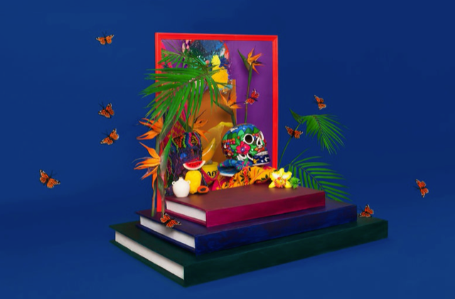 books with Mexican skull